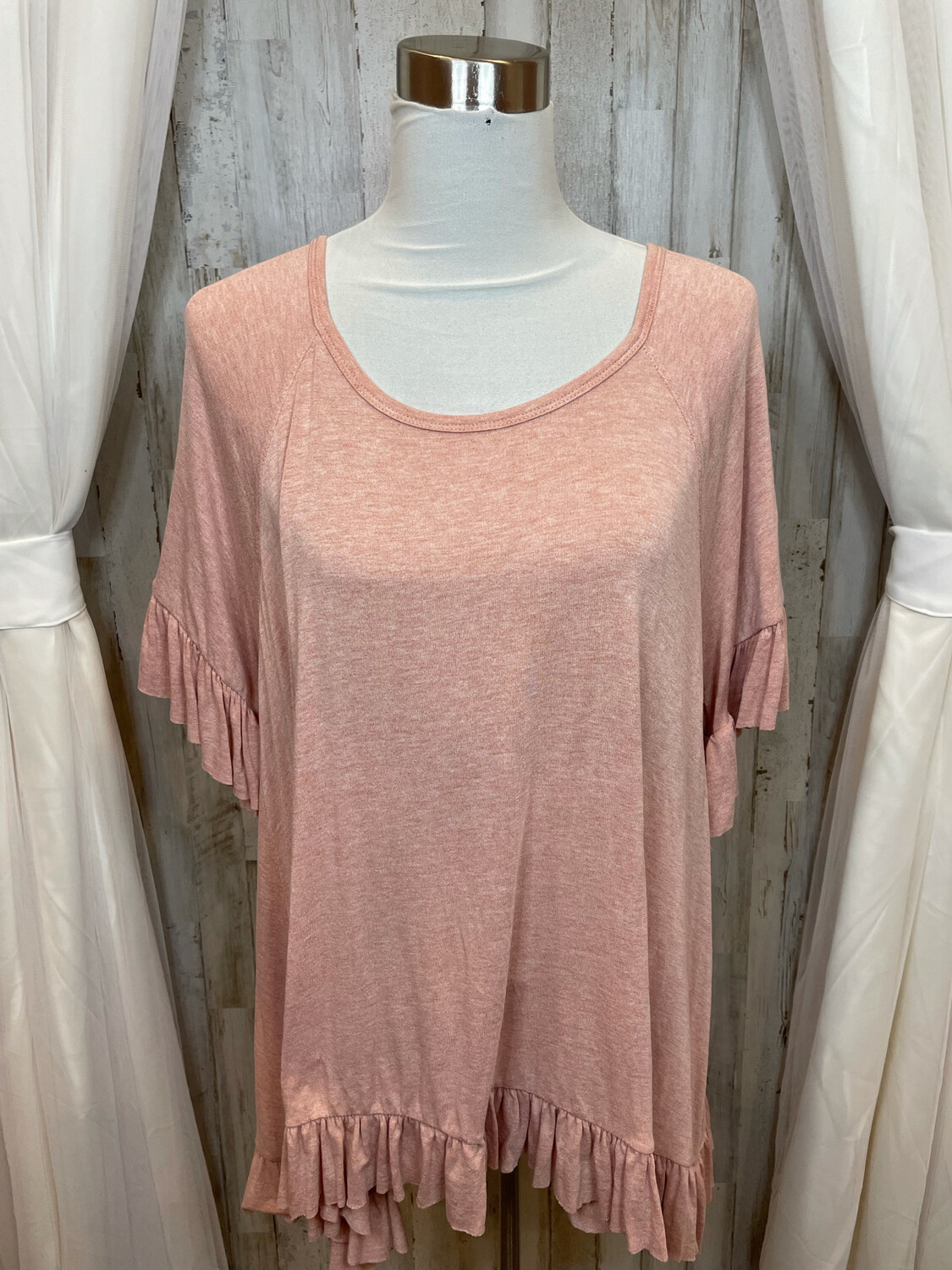 Easel Pink Ruffled Top - S