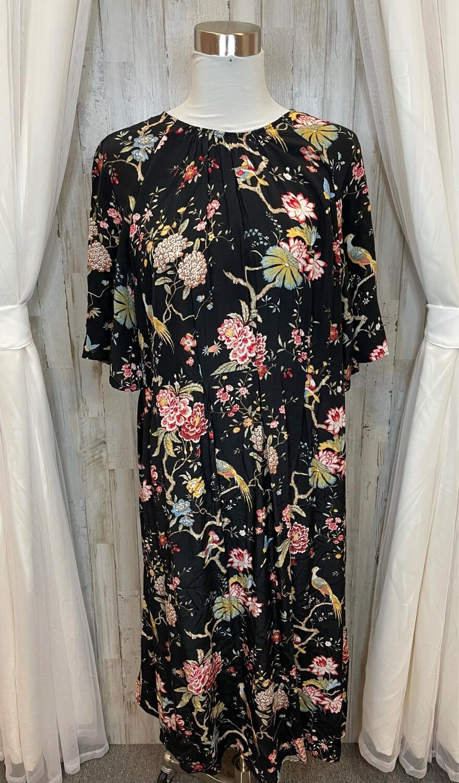 GP & J Baker X H&M Black Floral Midi Dress - Size 12