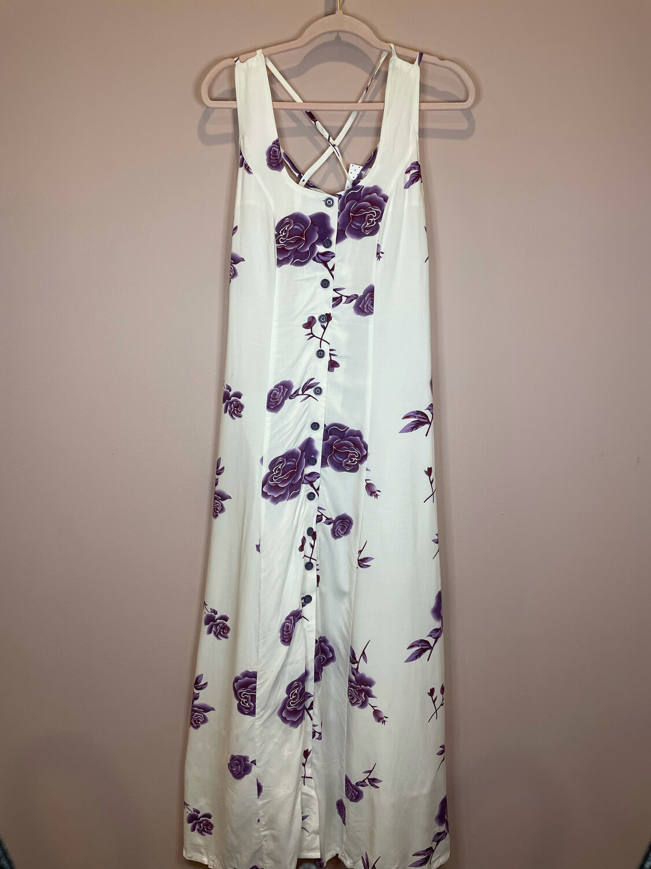 Venus White Button Up Dress w/Purple Floral Print - Size 4