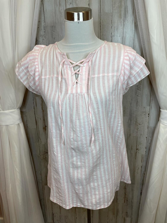 Gap Pink & White Striped Top - XS
