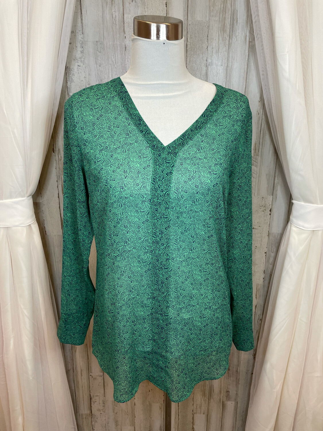 Cabi Green Top w/Blue Floral Print - S