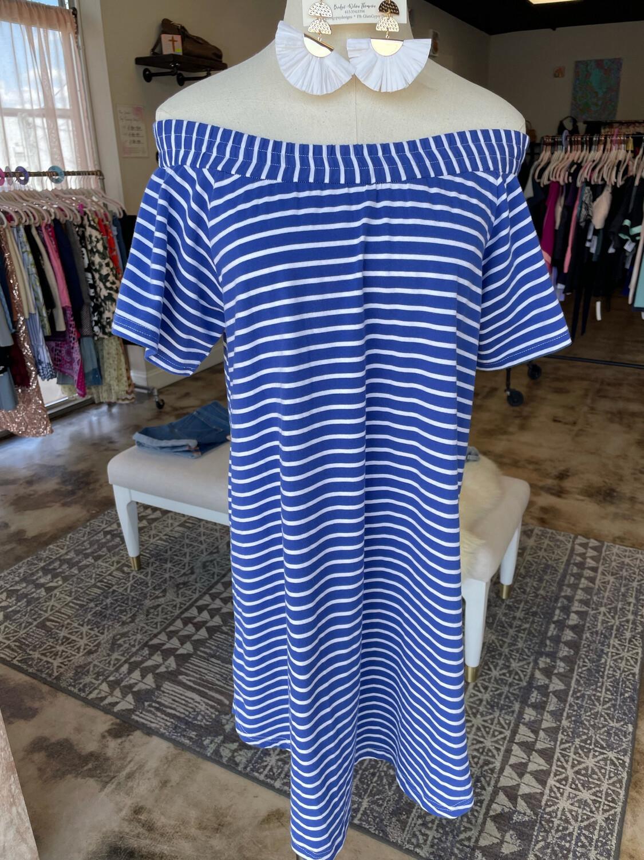 Umgee Blue & White Striped Casual Dress - M