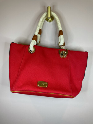 Michael Kors Red Purse w/Gold Anchor Accent & Braided Handles