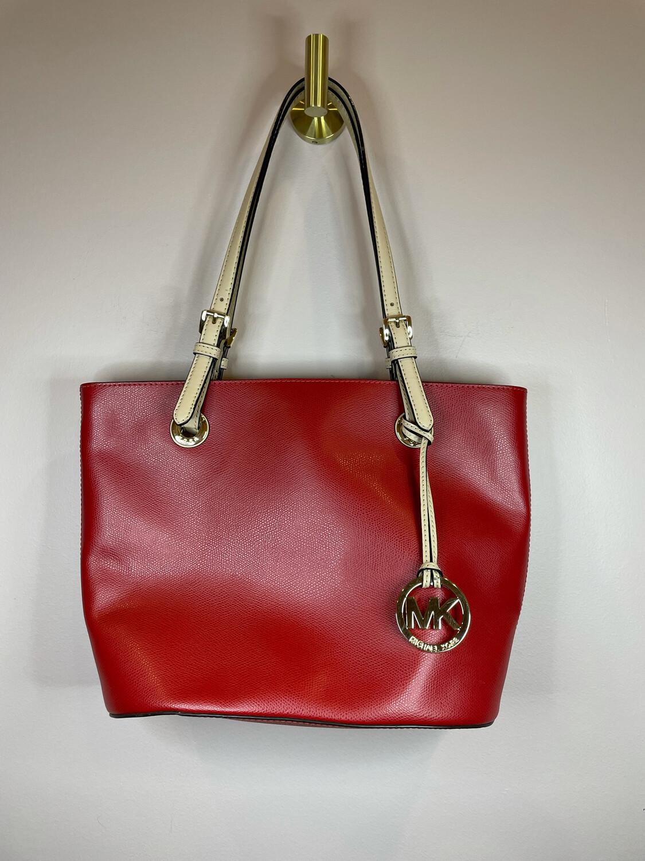 Michael Kors Red Purse w/ Tan Handles & Back Pocket