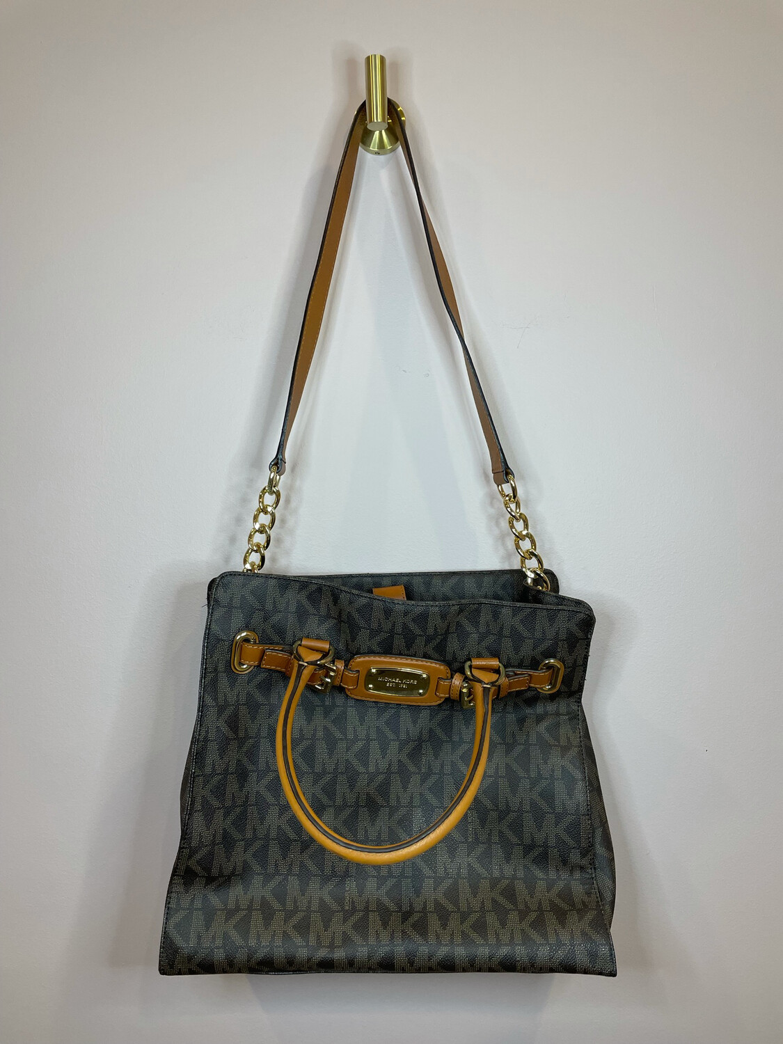 Michael Kors Brown MK Purse w/Brown Leather Buckle Accent