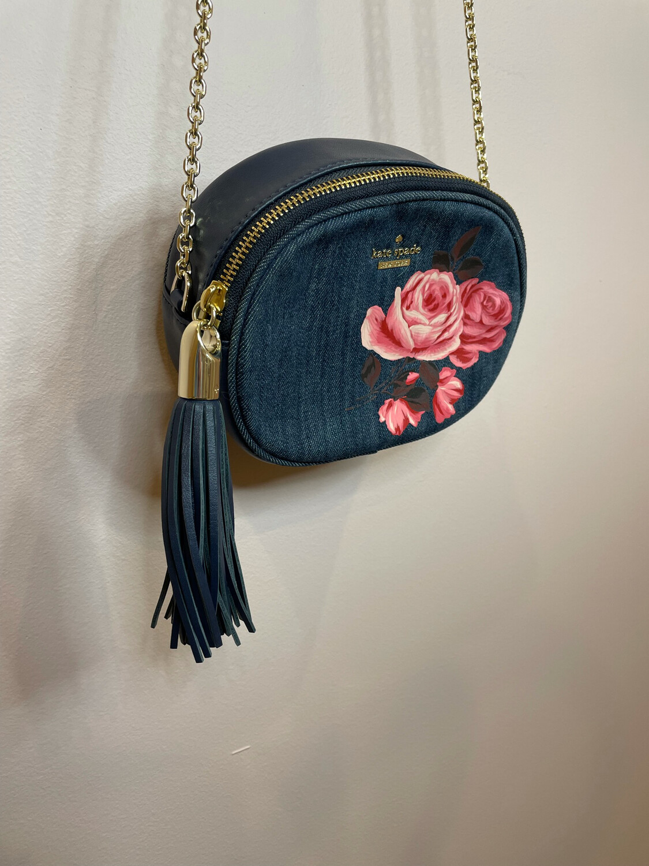 Kate Spade Denim Purse w/Rose Print & Gold Chain Accent