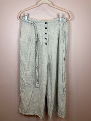 Lost + Wander Grey & White Striped Belted Pants - L