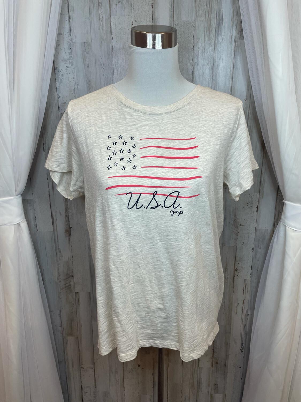 """Gap Cream """"USA"""" Flag Top - L"""