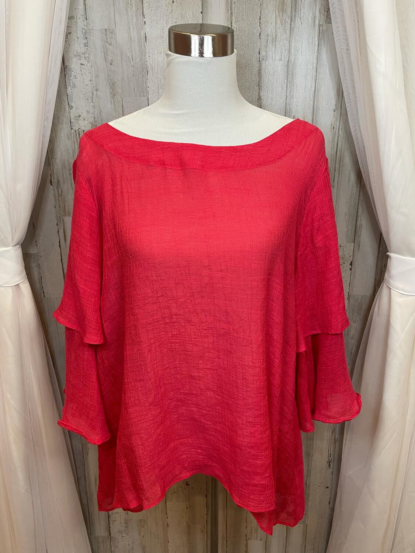 Umgee Red Ruffle Sleeve Top - 1XL