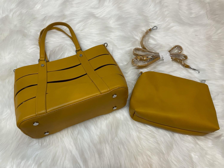 Madison West Mustard Shoulder Bag w/Clutch