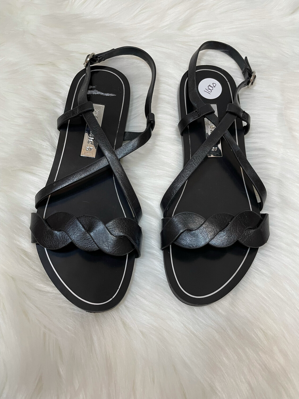Zara Basic Black Flat Sandals - Size 6.5