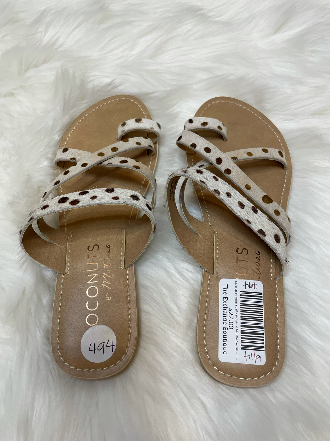 Coconuts By Matisse Calf Hair Animal Print Flat Sandals -  Size Size 8