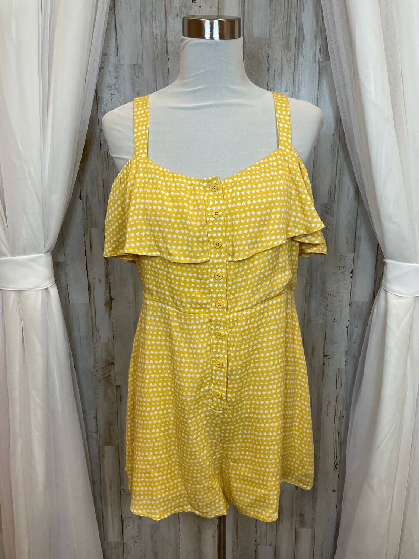 Ellis Yellow Cold Shoulder Short Romper w/White Heart Print - L