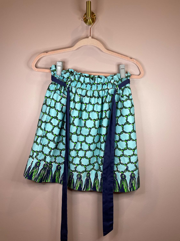 Lilly Pulitzer Aqua Paperbag Skirt w/Tassel Print - S