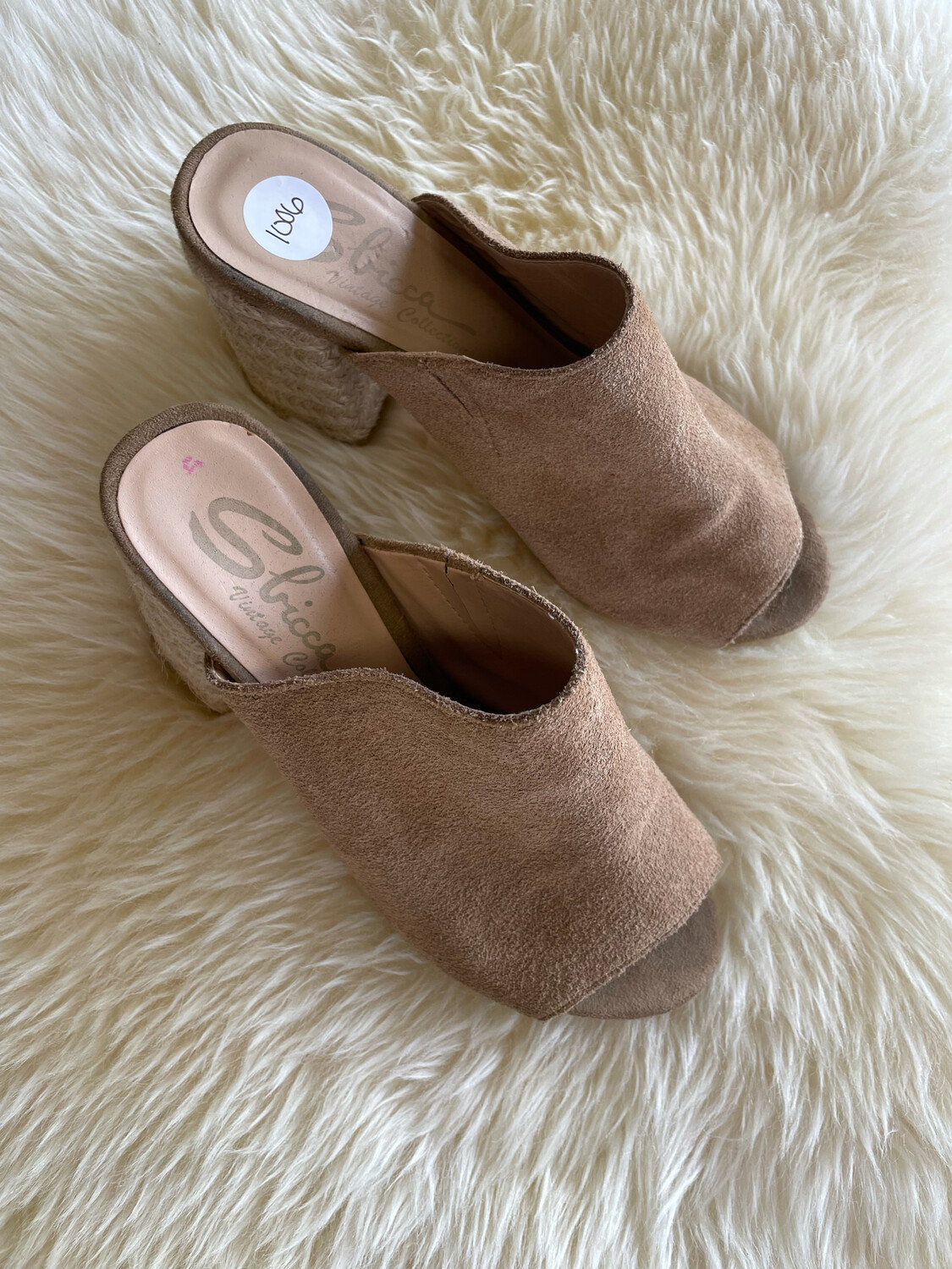 Sbicca Brown Suede Mule w/Rope Heel - Size 7