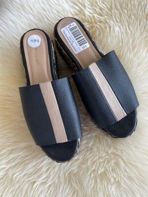 Kaanas Black & Tan Platform Sandals - Size 7
