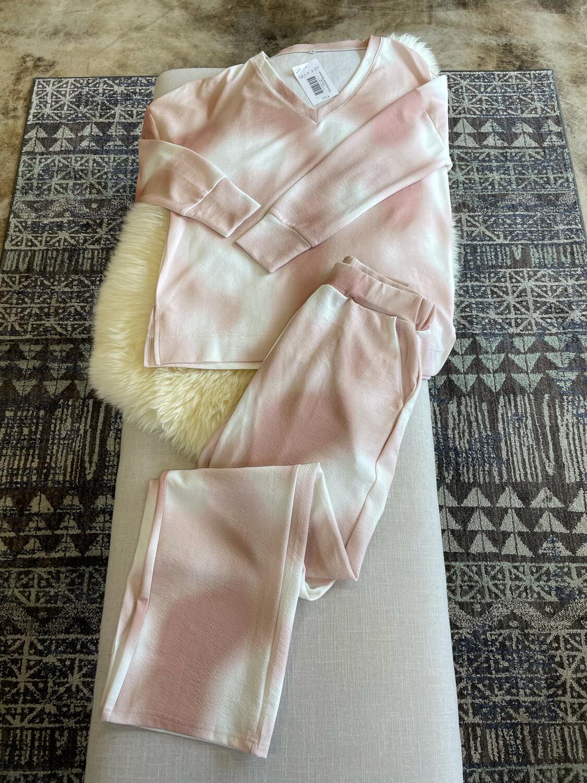Pink & White Tie Dye Set - S