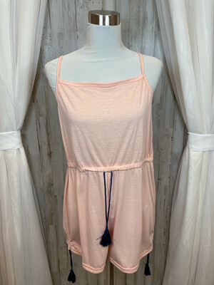 Pink Romper w/ Navy Drawstring - XL