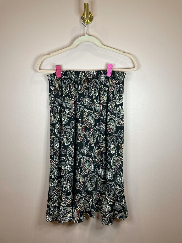Black Demask Print Skirt - M