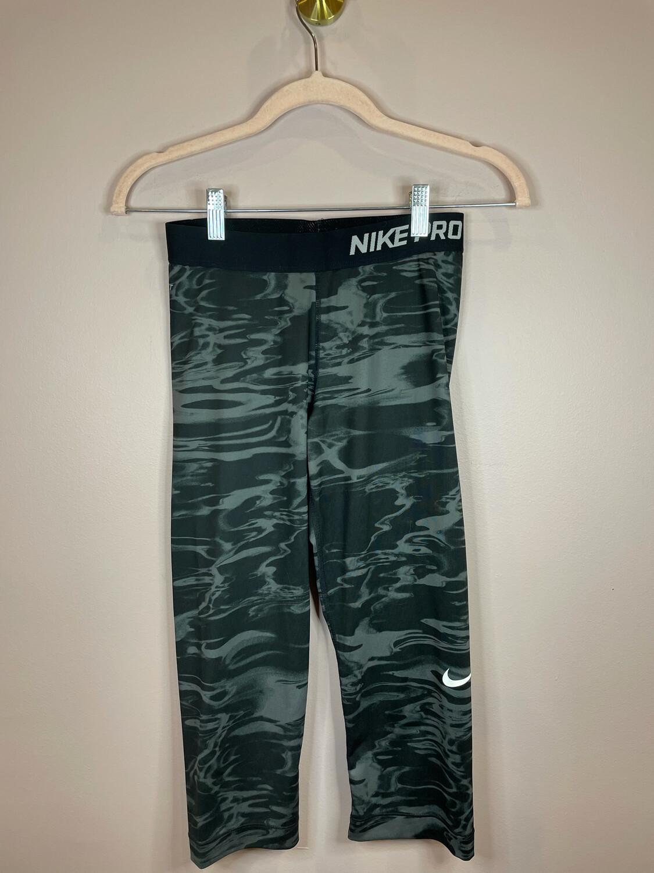 Nike Pro Black & Grey Swirl Athletic Capri - S