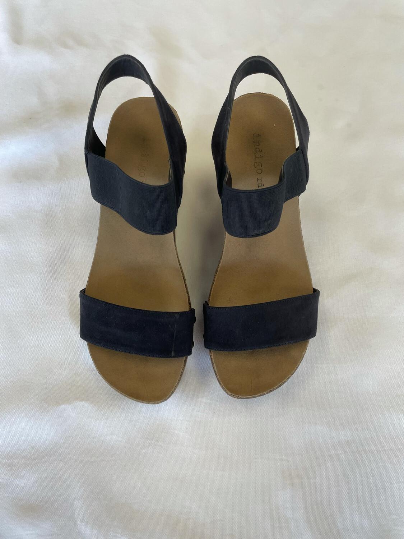 Indigo Rd. Black Wedge Sandals - Size 6