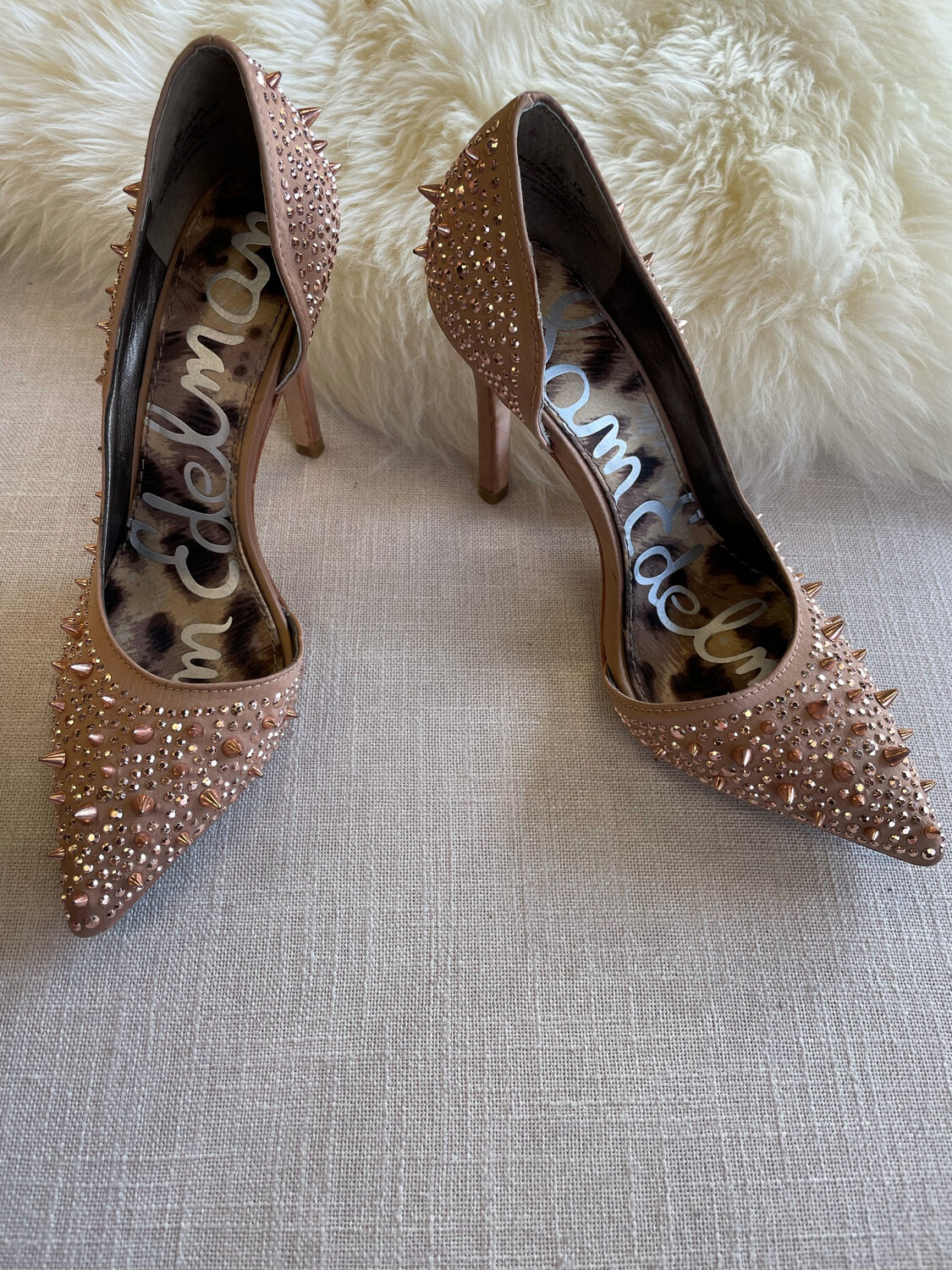 Sam Edelman Nude w/Rose Gold Spiked Heels & Studs - Size 5