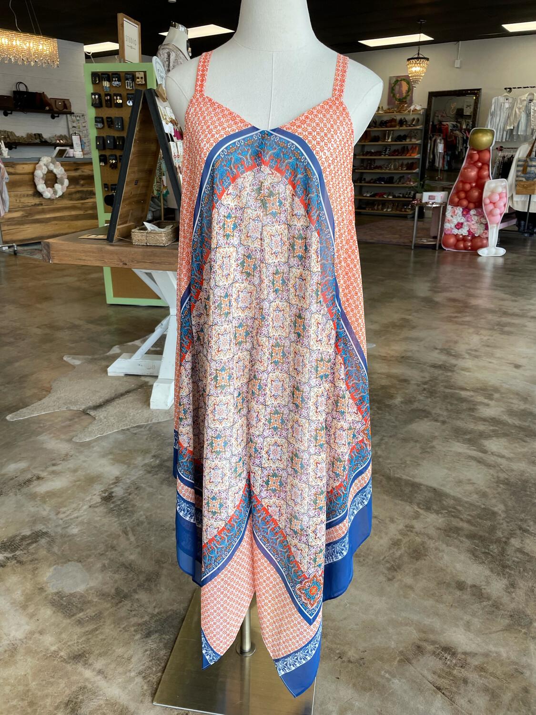 Luxology Blue & Orange Handkerchief Dress - Size 6