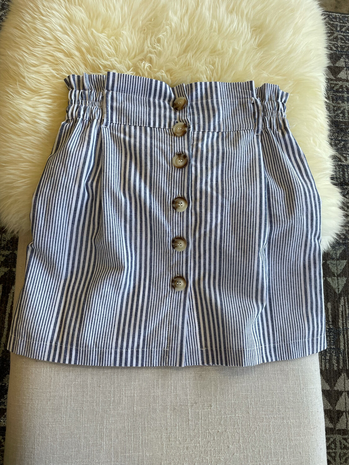 Favlux Navy & White Striped Skirt w/Buttons - M
