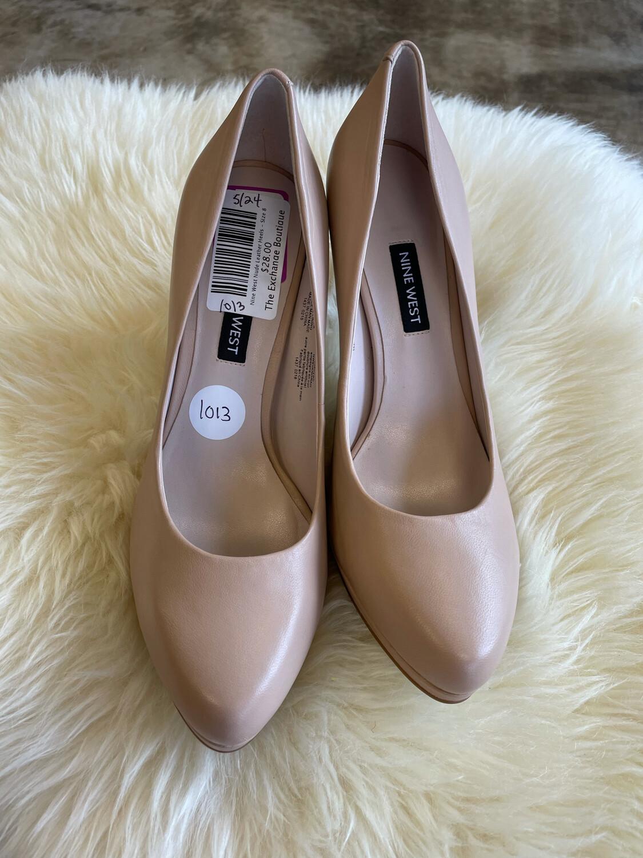 Nine West Nude Leather Heels - Size 8
