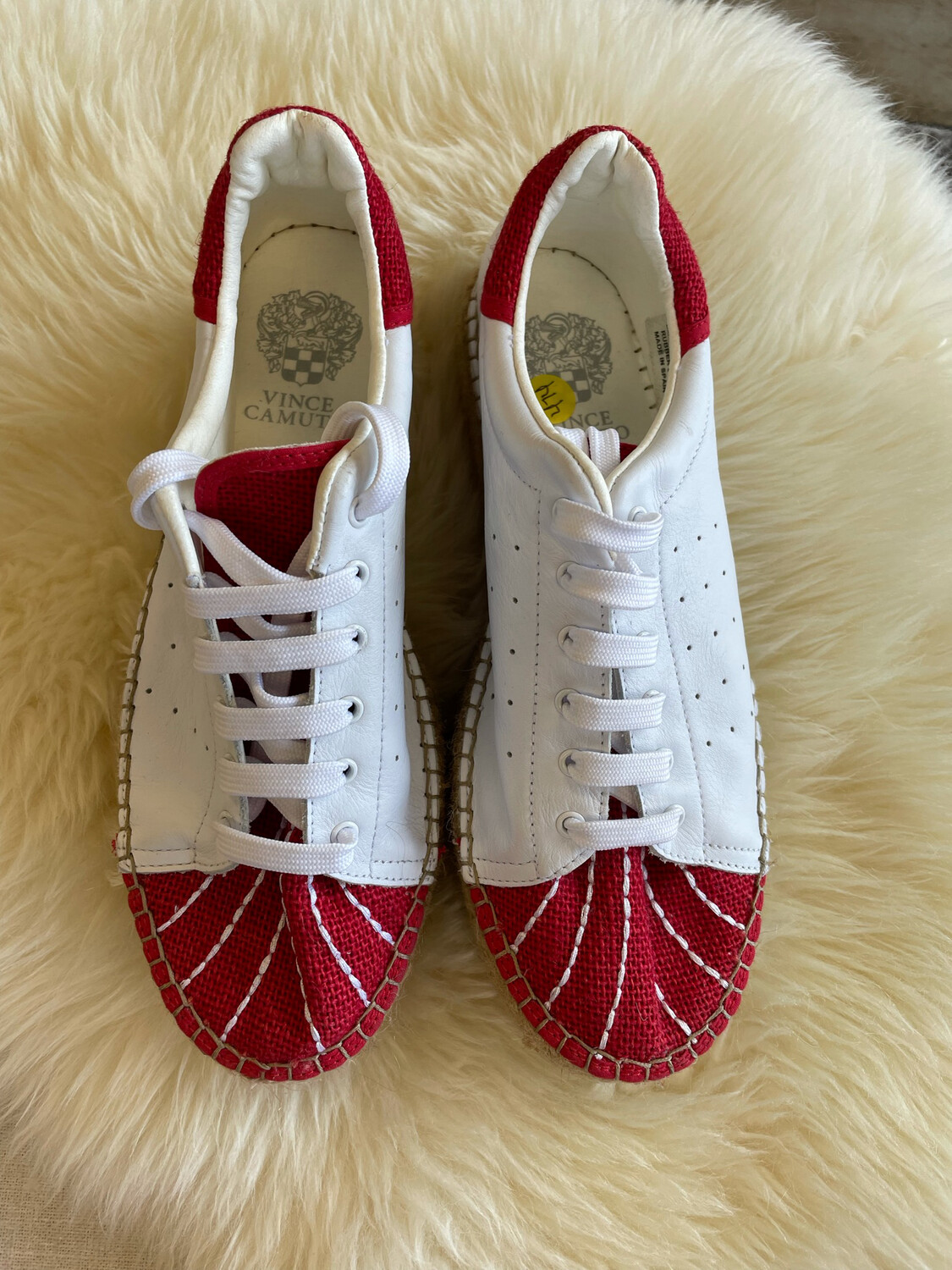 Vince Camuto White & Red Lace Up Sneakers - Size 11