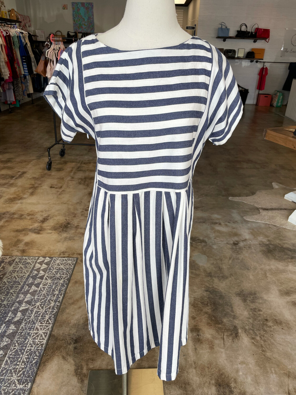Clad & Cloth Navy & White Striped Dress w/Cap Sleeve - S