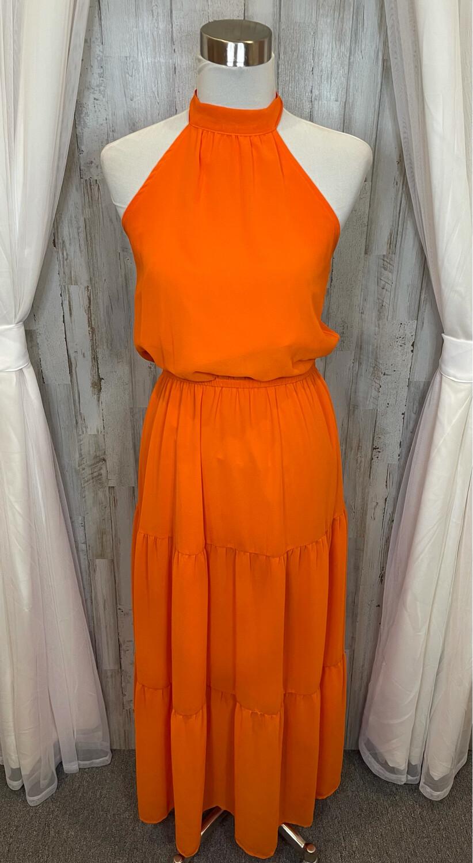 Orange Tank Ruffle Dress - S
