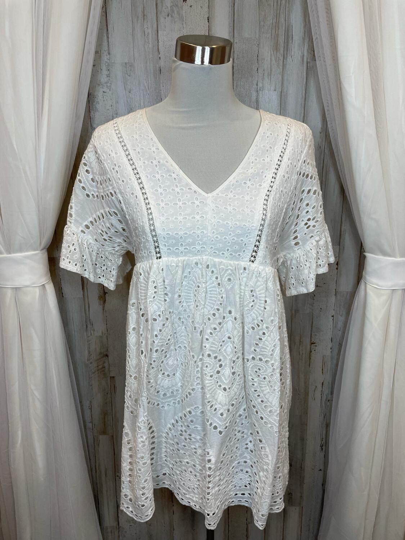 Addie White Eyelet Babydoll Dress - S