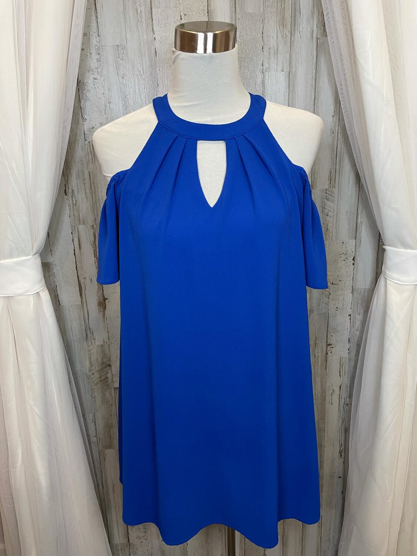 As U Wish Blue Cold Shoulder Dress - S