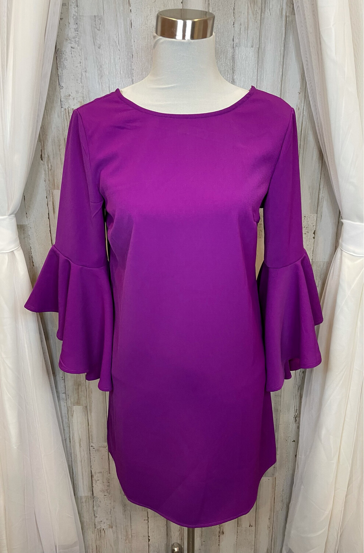 TCEC Purple Bell Sleeve Dress - M