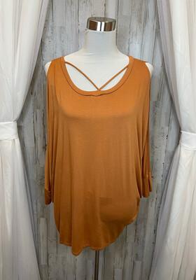 Ee:some Burnt Orange Cold Shoulder Top - OS