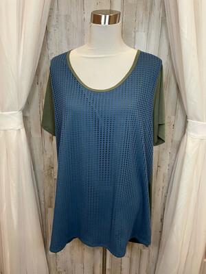 LulaRoe Green & Blue Textured Top - 3XL