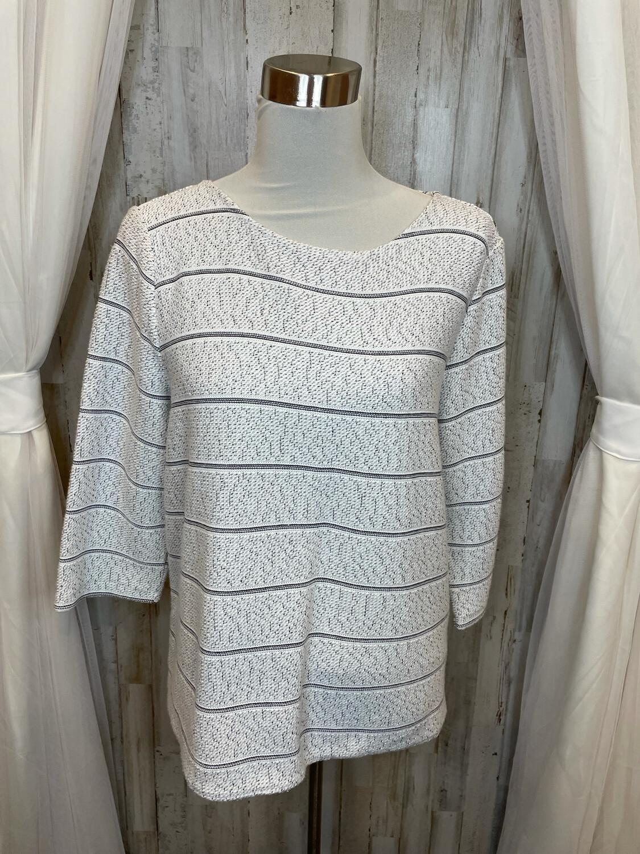 Talbots White Sweater w/Black Accent - L
