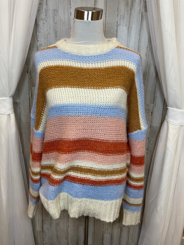Entro Striped Knit Sweater - L