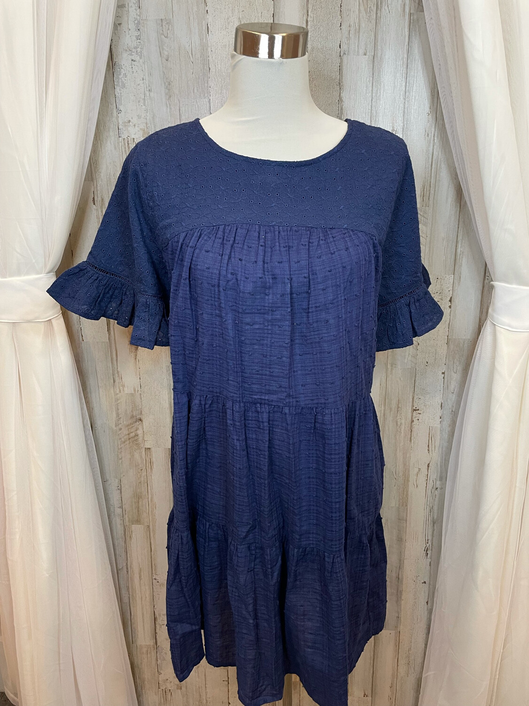 Umgee Navy Eyelet Tiered Dress - S