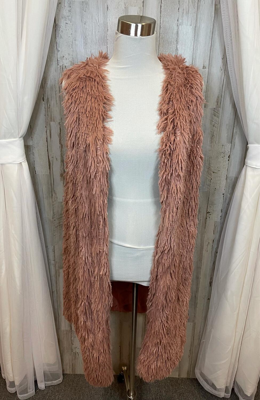 Dusty Rose Fur Vest -  L