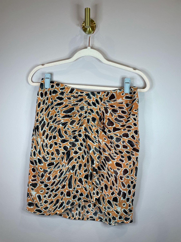 J.O.A. Orange Animal Print Skirt - M
