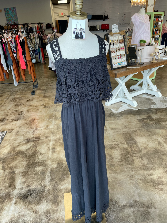 Free People Black Crochet Top & Trim Jumpsuit - M