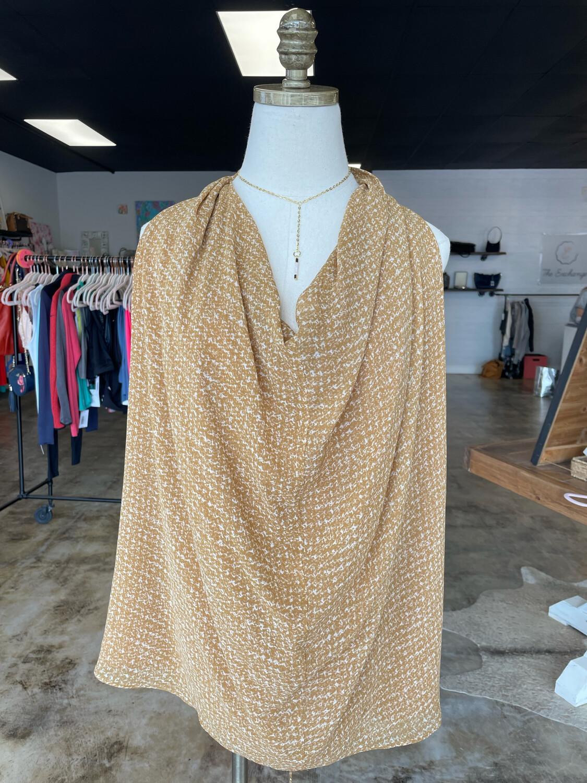 Rachel Zoe Mustard & White Patterned Halter Top - Size 6