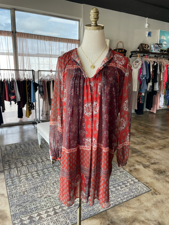 Tantrums Rust Boho Patterned Dress - M
