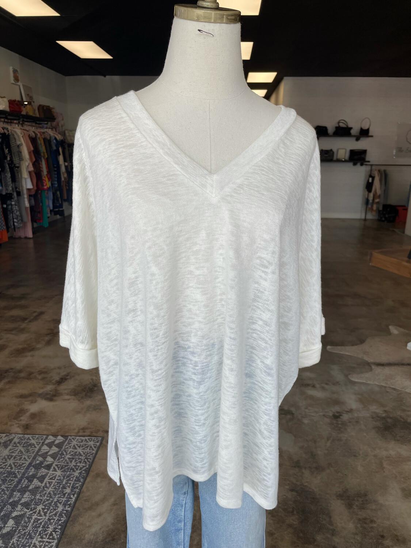 Cherish White Oversized Rolled Sleeve Top - M