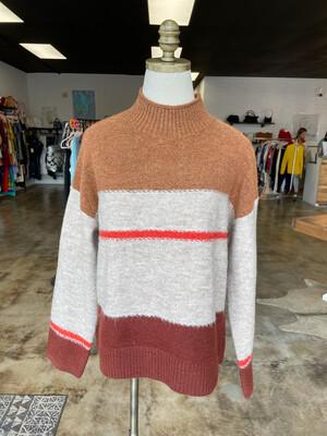 Universal Threads Tan & Grey Striped Sweater - M
