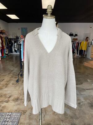 Grade & Gather Tan V-neck Sweater w/Collar - S