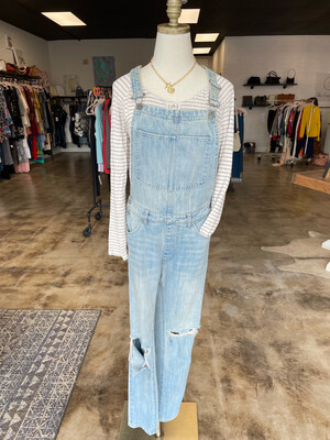 Light Wash Distressed Denim Overall - Size 4