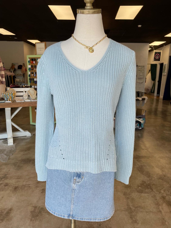 LOFT Aqua V-neck Sweater - S